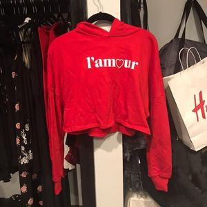 Red Sweater L'Amour crop top